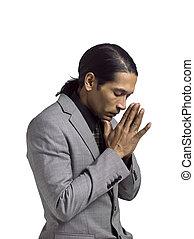 homem negócios, orando