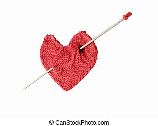 Heart with Cupids arrow - red knitted heart with needle...