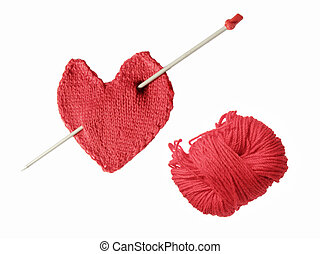 heart with needle and clew - red knitted heart with needle...