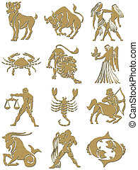 zodiac signs with golden texture