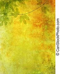 grunge, fond, raisin, feuilles