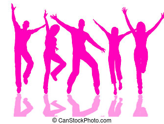 Happy people - People group jumping for happiness and joy