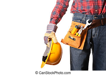Construction worker with toolbelt on white