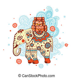 Ethnic elephant on the ornamental background