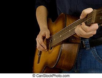 guitare, homme, noir