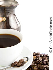 cup of coffee and beans isolated on white background