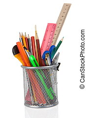 school accessories in holder on white - set of school...