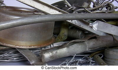 Recycling material - pile of metal - Pan of material for...