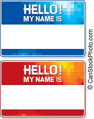 hello my name is card blue and red name tag blank sticker...