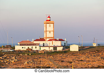 Cape Carvoeiro lighthouse in Peniche, Portugal. Morning shot
