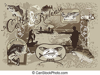 fishing - illustration for shirt printed and poster