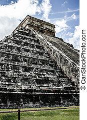 Maya, pirámide, Kukulcan, el, Castillo, Chichen-Itza,...