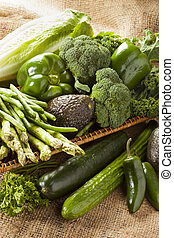 Group of Fresh Organic Assorted Green Vegetables - Group of...