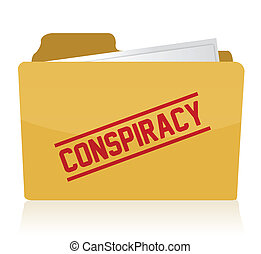 stamp showing the term conspiracy on a folder