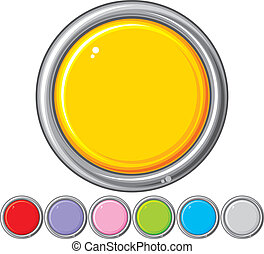 collection of seven glossy buttons (vector design elements,...