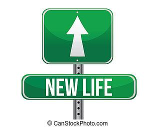 start new life road sign illustration design over white