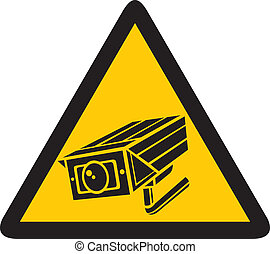 CCTV triangle symbols camera surveillance sign, security...