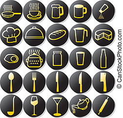 kitchen icons set (set of buttons on a theme kitchen, food...