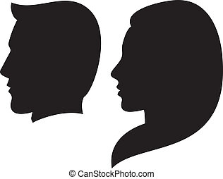 face man and woman (silhouette head of a man and woman, face...