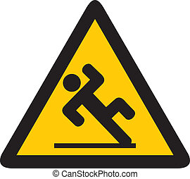 wet floor sign (slippery warning symbol, wet floor caution...
