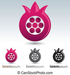 Pomegranate Icon - Abstract and stylized pomegranate icon...