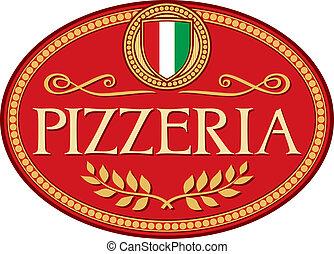 pizzeria, etiqueta, desenho