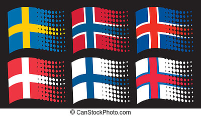 scandinavian flags - flag of sweden, flag of finland, flag...