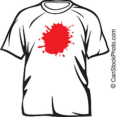 red stains on white t-shirt dirty t-shirt