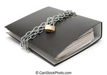 Protected Files - Secured file folder isolated on a white...