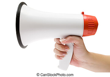 Shout It Out Loud - Holding a white megaphone. Isolated on a...