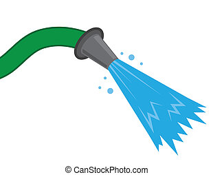 Hose Water Spray - Hose spraying water against empty...