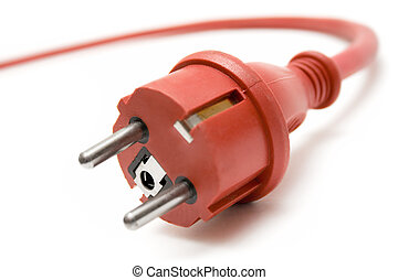Red Extension Plug - Red plug with extension cable in the...