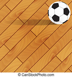 Football on wood background and texture