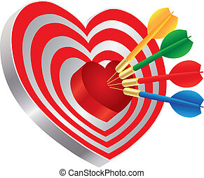 Darts on Heart Shape Bullseye Illustration - Darts Red Heart...