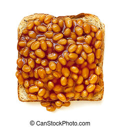 Baked Beans on Toast Isolated