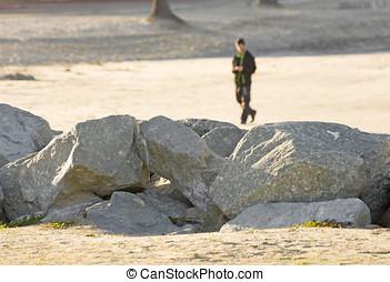 Solidão, andar, Areia