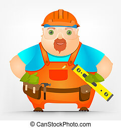 Cheerful Chubby Men - Cartoon Character Cheerful Chubby Men...