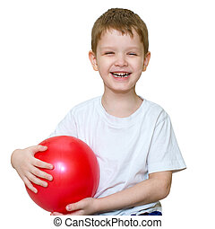 A little boy plays a ball and laughing, square photo