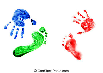 Watercolor handprints and footprints little baby