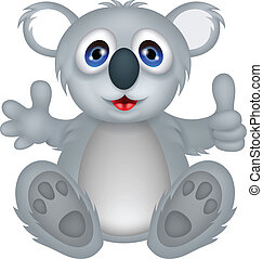 funny koala cartoon with thumb up