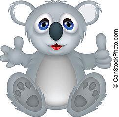 funny koala cartoon with thumb up