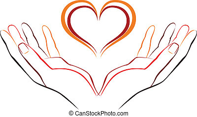 hand with love - vector illustration of hand with love