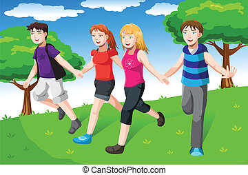 Friends holding hands - A vector illustration of a group of...