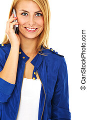 On the phone - A picture of a young beautiful woman talking...