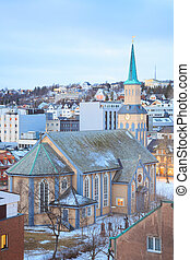 Tromso Cathedral Norway - Aerial view of Tromso Cathedral...