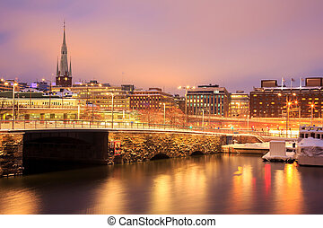 Stockholm Night - Cityscape of Gamla Stan Old Town Stockholm...