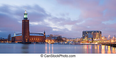 Panorama Stockholm Cityhall at dusk Sweden