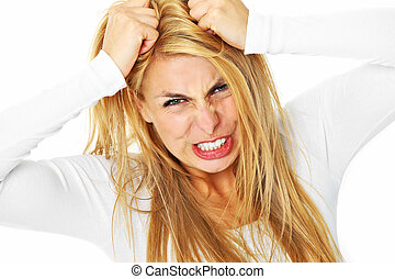 Crazy woman - A picture of a young depressed woman tearing...