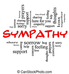Sympathy Word Cloud Concept in Red Caps with great terms...
