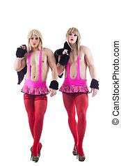dos, transvestites, rosa, trajes, aislado